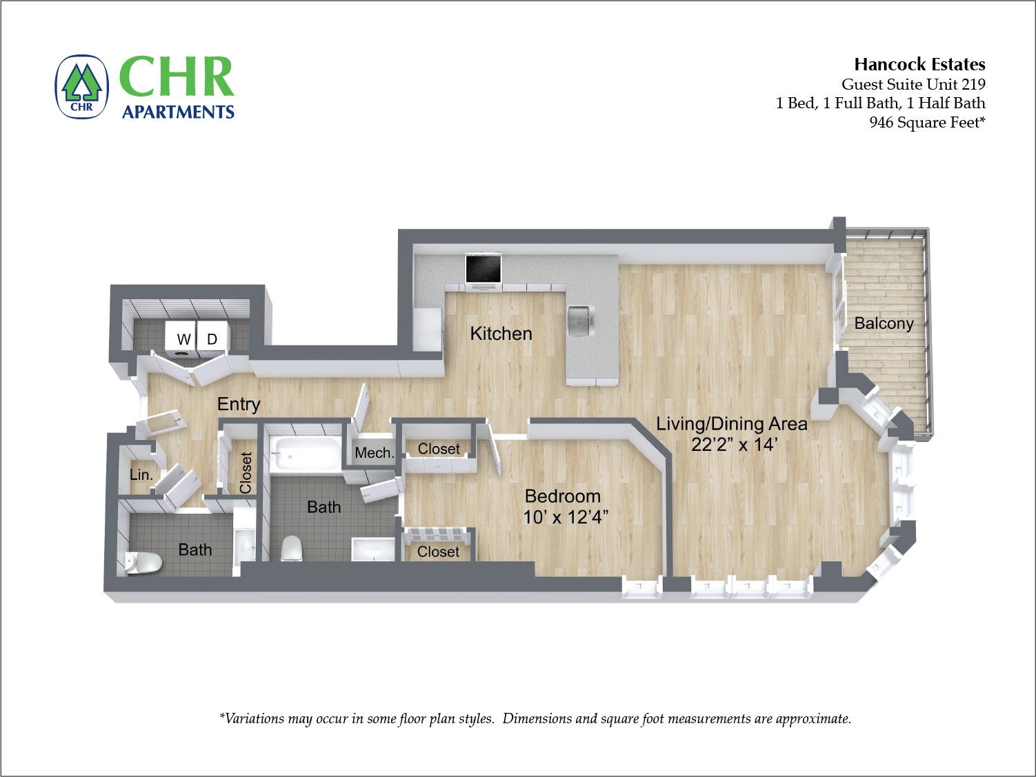 Click to view Floor plan 1 BR 1.5 BA image 9