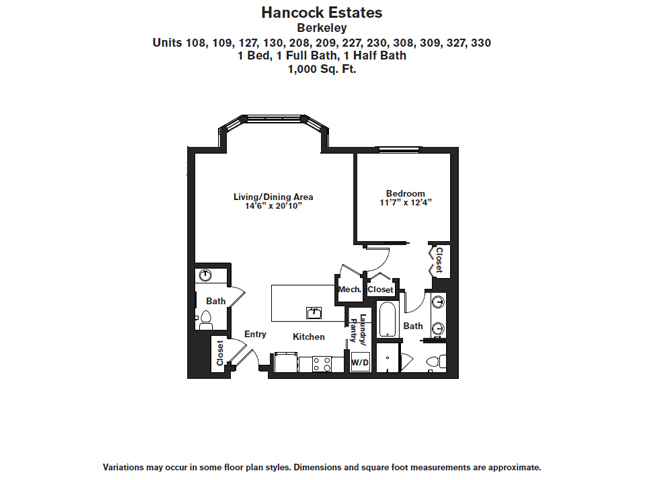 Click to view Floor plan 1 BR 1.5 BA image 2