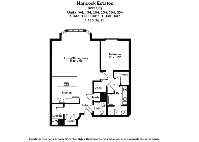 Click to view Floor plan 1 BR 1.5 BA image 4