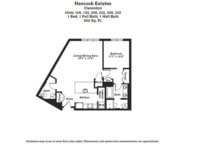 Click to view Floor plan 1 BR 1.5 BA image 5