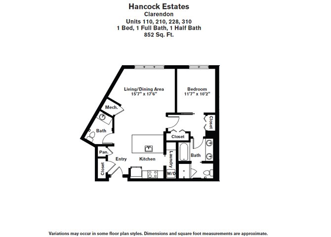 Click to view Floor plan 1 BR 1.5 BA image 6
