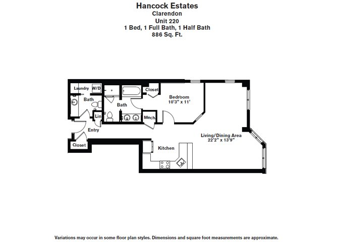 Click to view Floor plan 1 BR 1.5 BA image 7