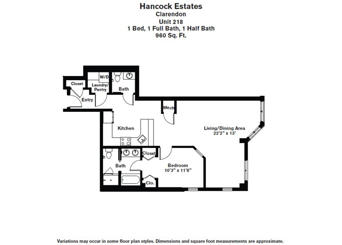 Click to view Floor plan 1 BR 1.5 BA image 8