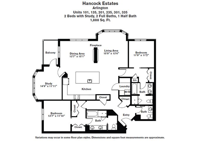 Click to view Floor plan 2 BR Den 2.5 BA image 2
