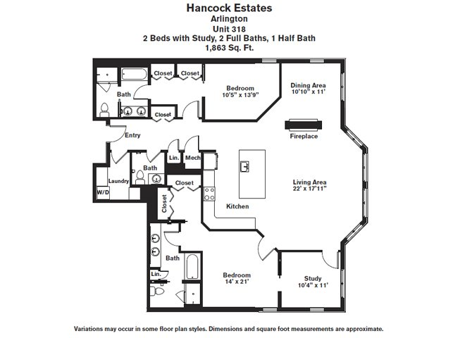 Click to view Floor plan 2 BR Den 2.5 BA image 5
