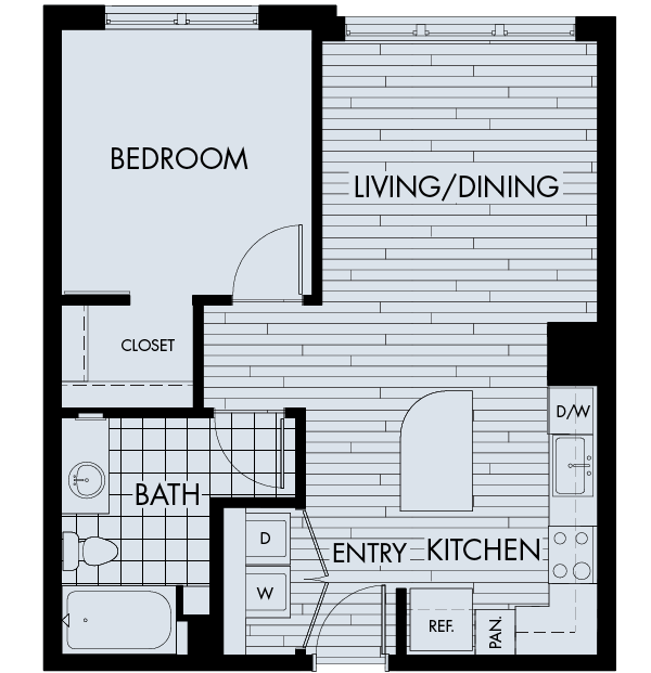 The york on city park apartments denver city park west floor plan 1B