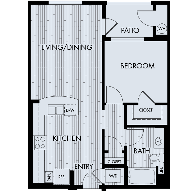 88 at Alhambra Place Apartments Alhambra 1 bedroom 1 bath Plan 1C
