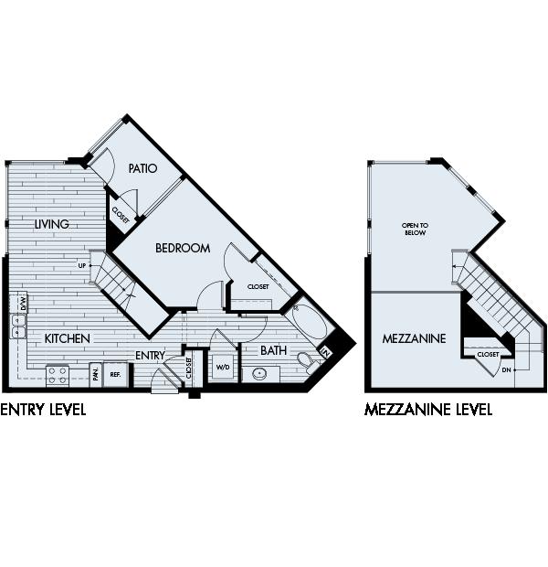 Ascent Apartments San Jose 1 bedroom 1 bath Plan 1A Mezzanine