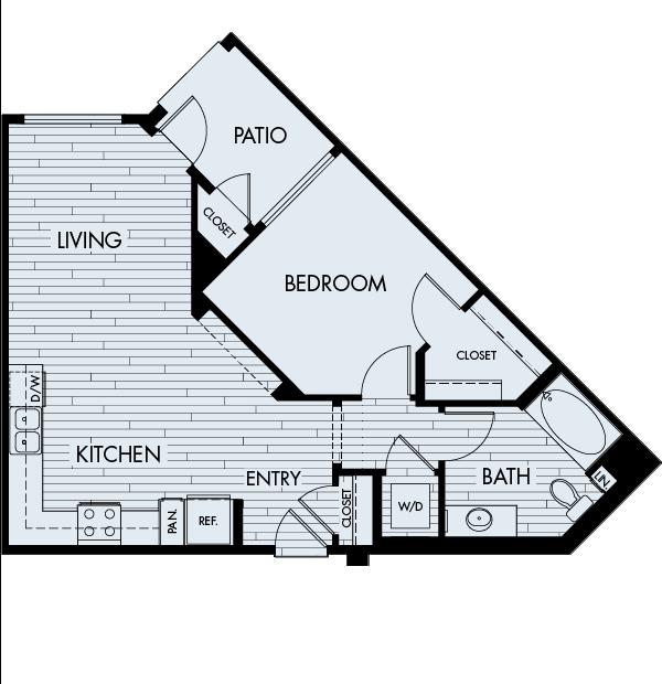 Ascent Apartments San Jose 1 bedroom 1 bath Plan 1A