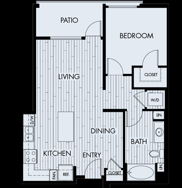 Ascent Apartments San Jose 1 bedroom 1 bath Plan 1B