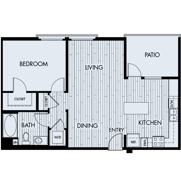 Ascent Apartments San Jose 1 bedroom 1 bath  Plan 1C
