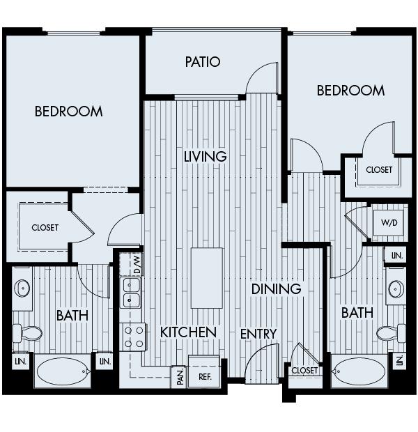 Ascent Apartments San Jose 2 bedrooms 2 baths Plan 2B