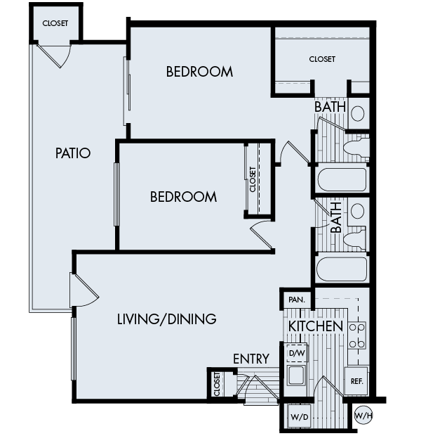 Creekside village apartments fremont two bedroom two bathroom floor plan 2a