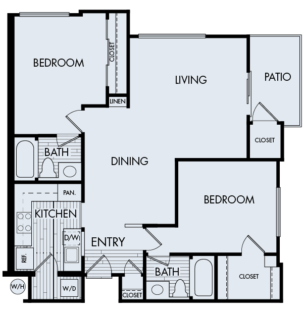 Creekside village apartments fremont two bedroom two bathroom floor plan 2b