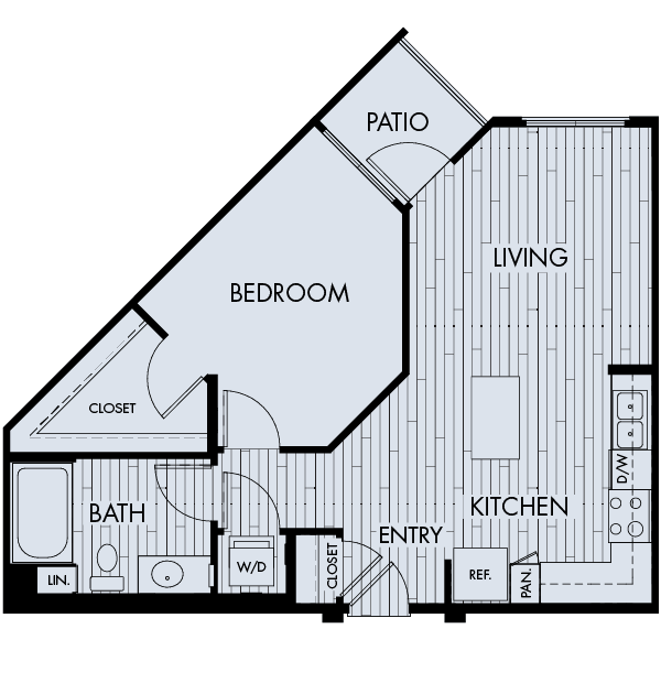 Reata oakbrook village apartments laguna hills one bedroom one bathroom floor plan 1a