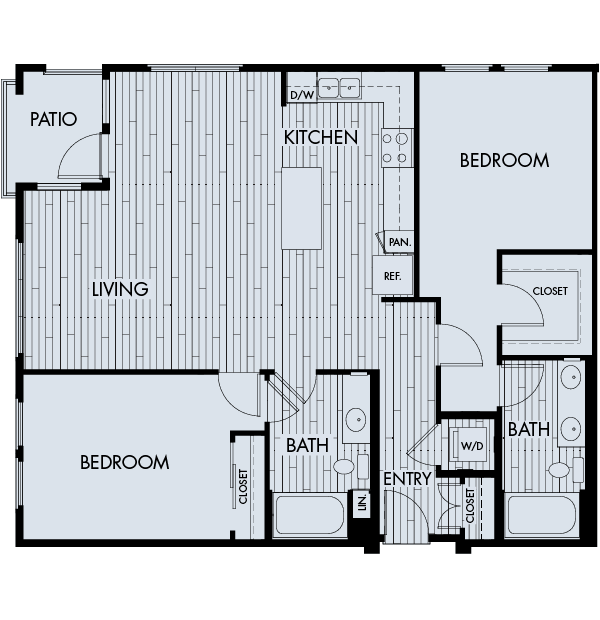 Reata oakbrook village apartments laguna hills two bedroom two bathroom floor plan 2c