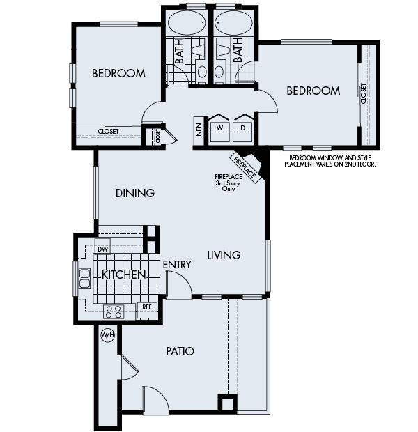 Sycamore bay apartments newark two bedroom two bathroom floor Plan 2B