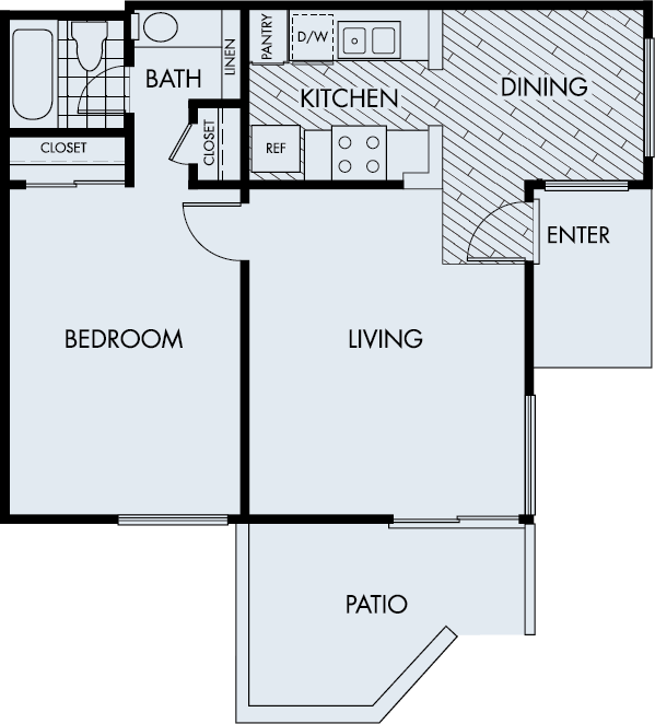 Woodbridge Apartments Irvine 1 bedroom 1 bath Plan 1B