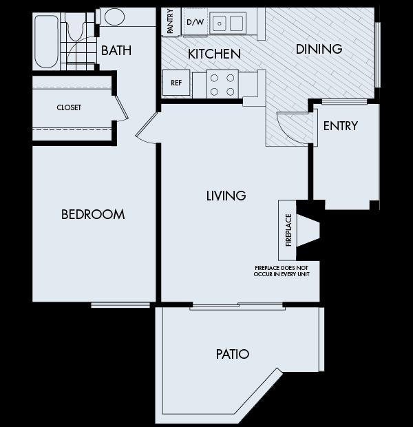 Woodbridge Apartments Irvine 1 bedroom 1 bath Plan 1C