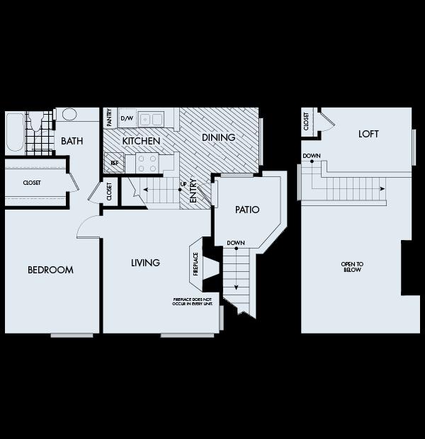 Woodbridge Apartments Irvine 1 bedroom 1 bath loft Plan 1D