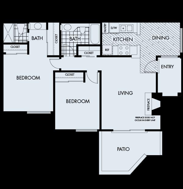 Woodbridge Apartments Irvine 2 bedrooms 2 baths Plan 2B