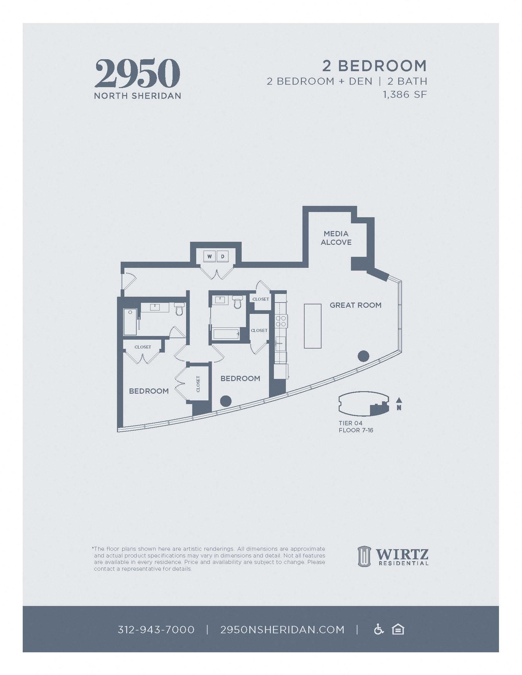2 Bed 2 Bath + Den Tier 04 FL 7 - 16