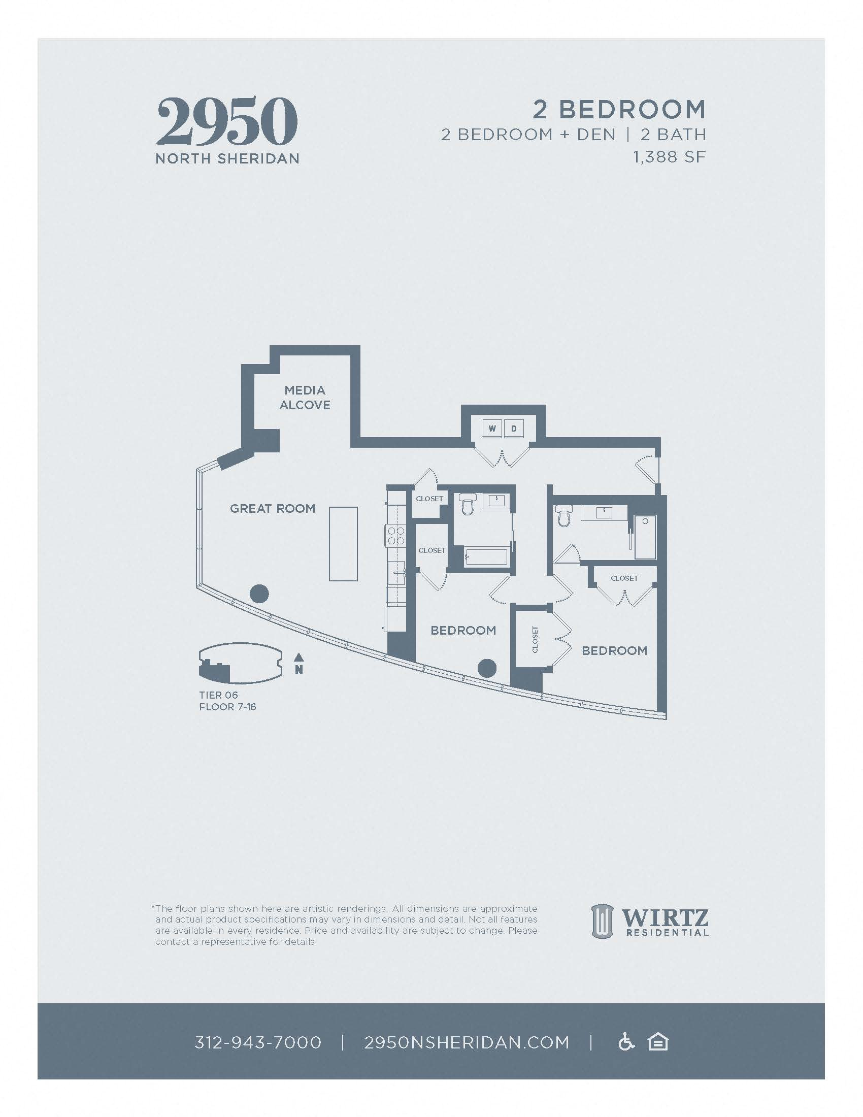 2 Bed 2 Bath + Den Tier 06 FL 7 - 16