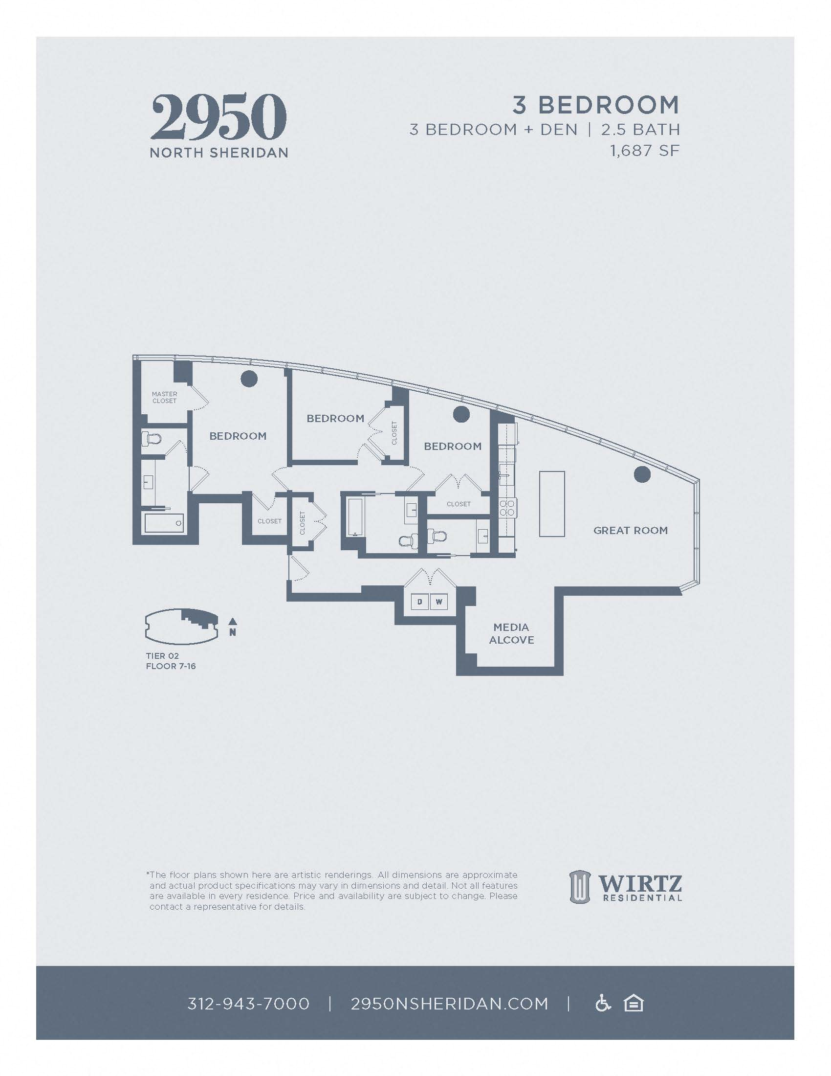 3 Bed 2.5 Bath + Den Tier 02 FL 7 - 16