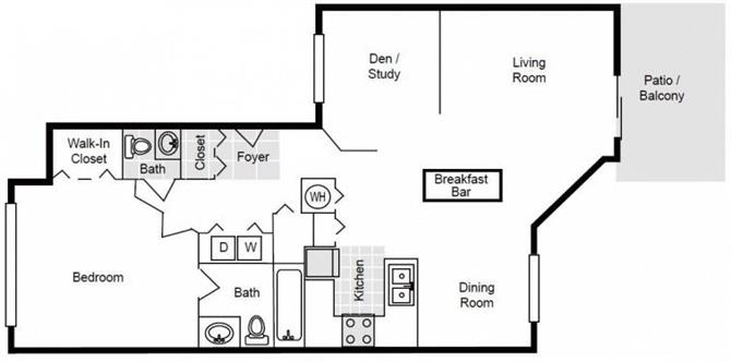 1 Bedroom, 1.5 Bath