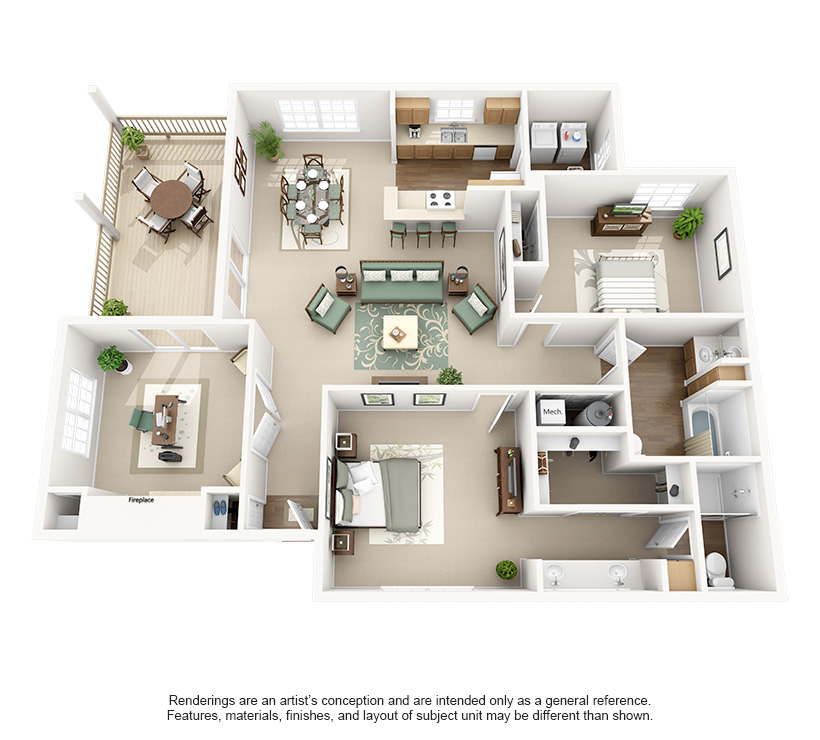Cooper Creek Apartments Plan E (2 Bd + Den)