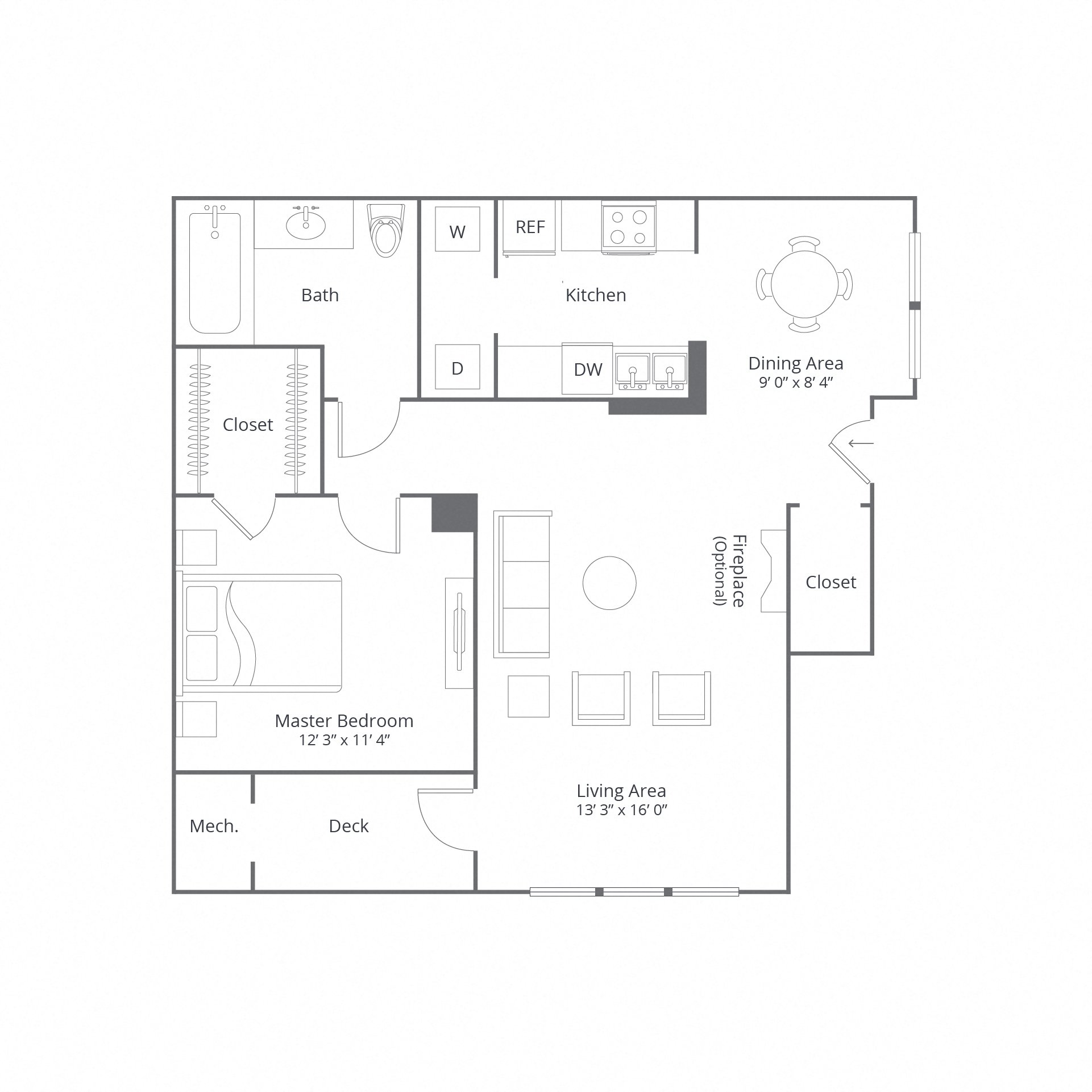 Candlewood 1bed 885sqft