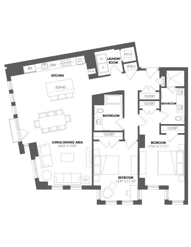 Apartment P-306 floorplan