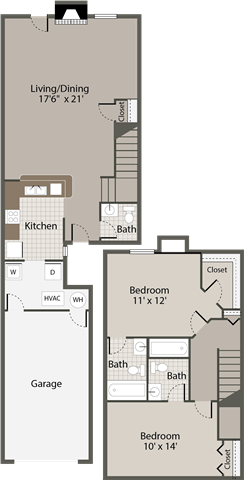 2 Bedroom, 2.5 Bath