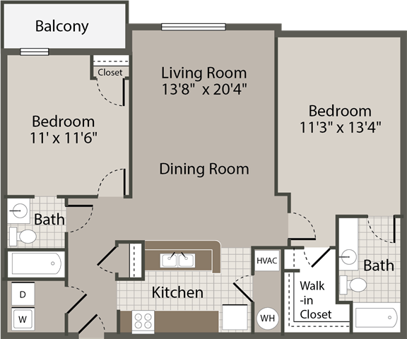 2 Bedroom, 2 Bath