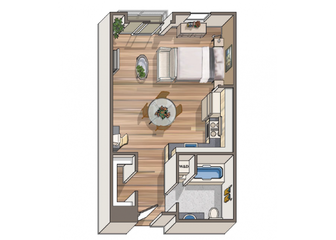 The Adriano Studio floor plan  at 1801 L | Sacramento, CA 95811