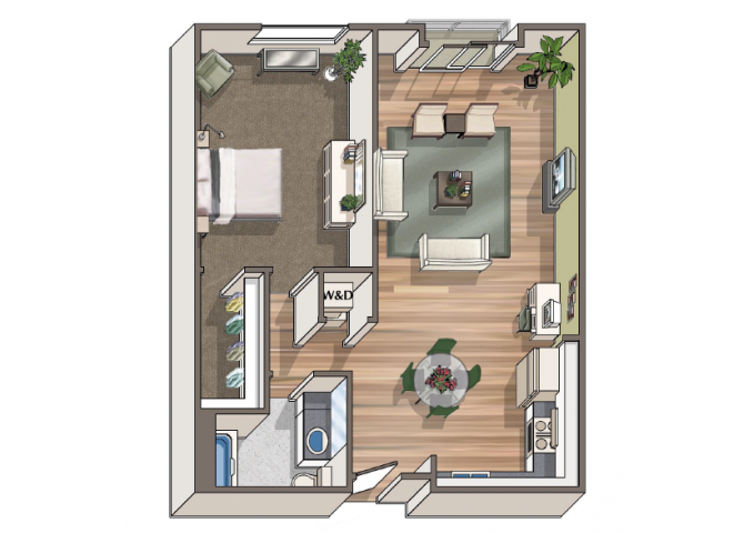 The Carstens 1x1 floor plan at 1801 L | Sacramento, CA 95811