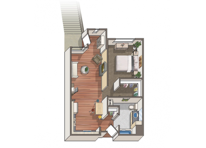 The Cassatt 1x1 floor plan at 1801 L | Sacramento, CA 95811