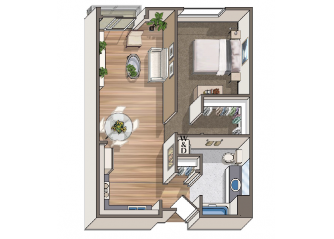 The Cezanne 1x1 floor plan at 1801 L | Sacramento, CA 95811
