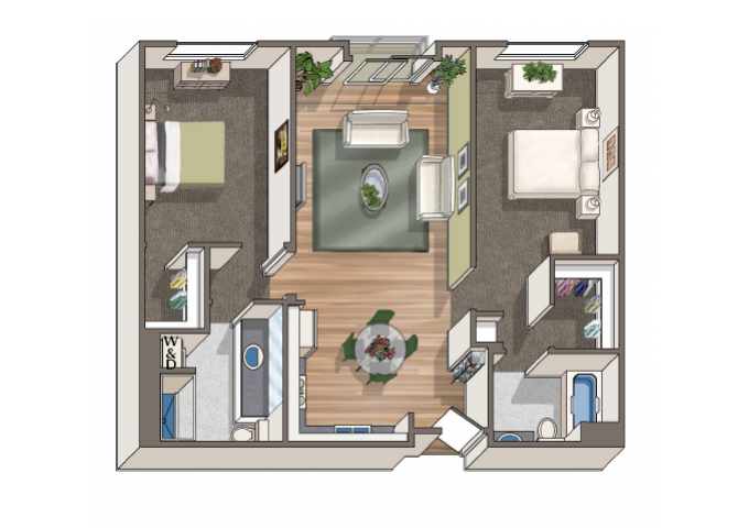 The Dali 2x2 floor plan at 1801 L | Sacramento, CA 95811