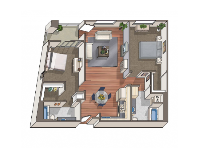 The Debucourt 2x2 floor plan at 1801 L | Sacramento, CA 95811