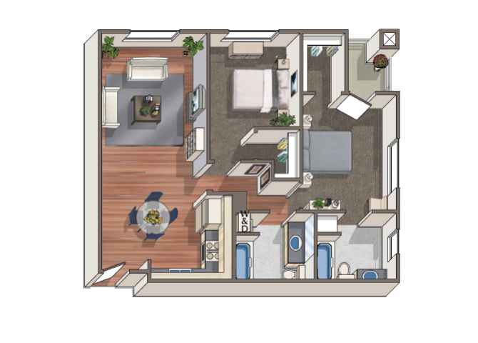 The Degas 2x2 floor plan at 1801 L | Sacramento, CA 95811