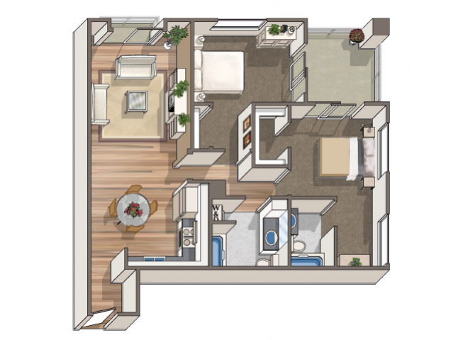 The Dolivar 2x2 floor plan at 1801 L | Sacramento, CA 95811