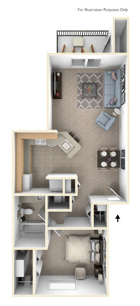 One Bedroom Traditional - GR floor plan, top view