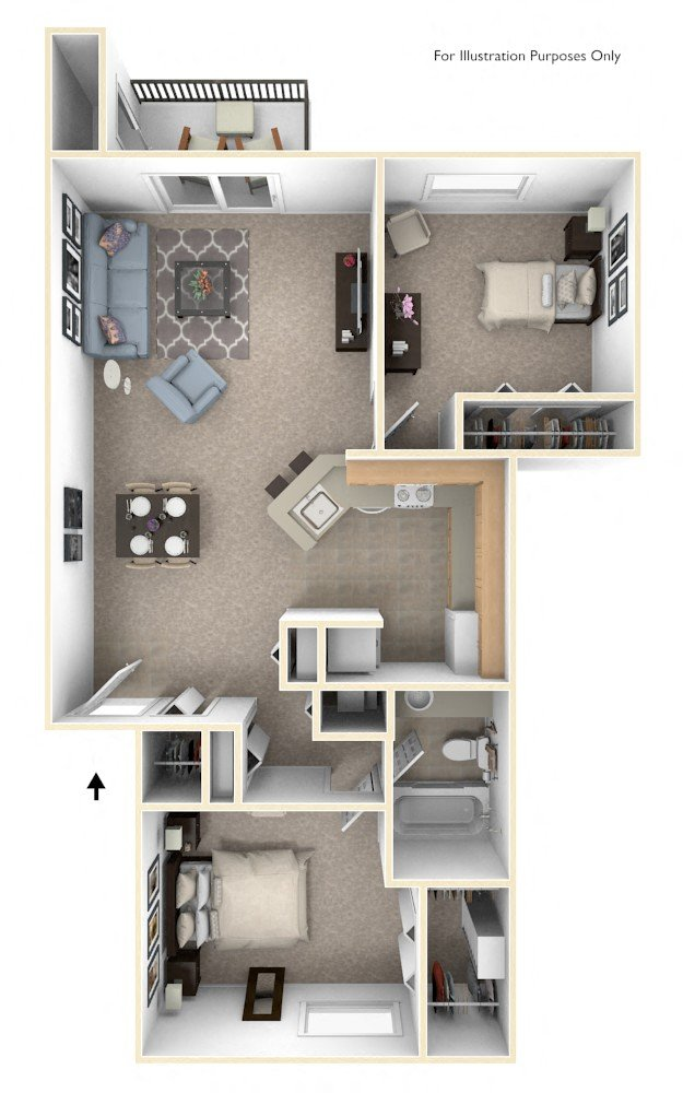 Two Bedroom Traditional - GR floor plan, top view
