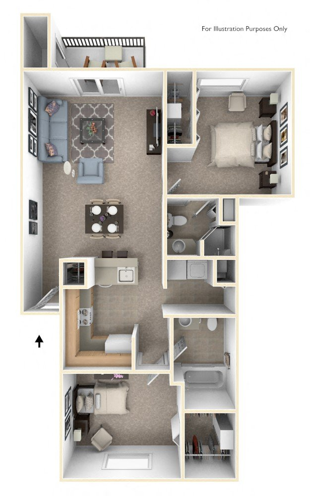 Two Bedroom Two Bath GR floor plan, top view