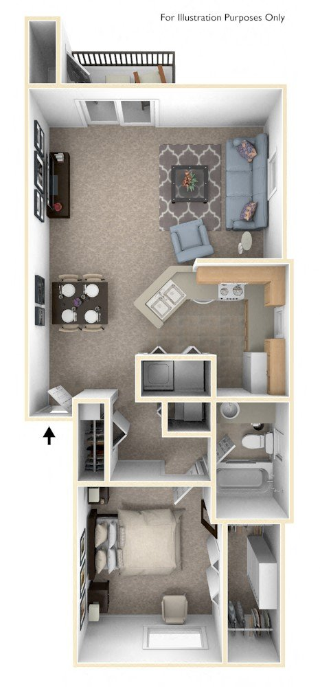One Bedroom End GR floor plan, top view
