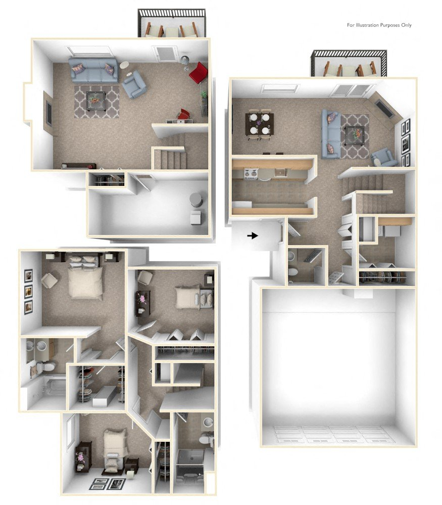Three-bedroom Two-Story floor plan, top view