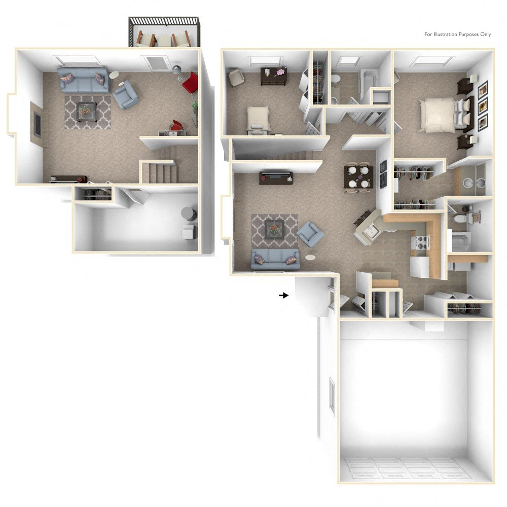 Two Bedroom Ranch floor plan, top view