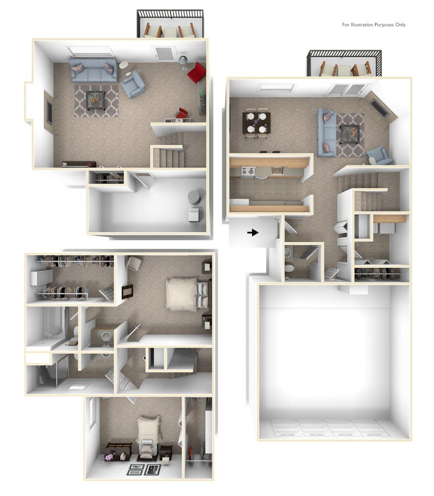 Two Bedroom Two-Story floor plan, top view