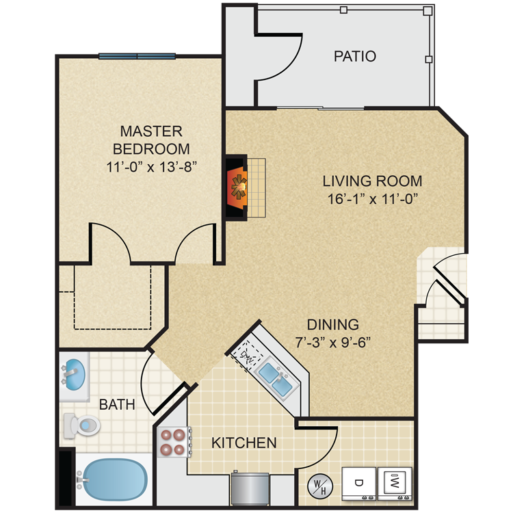 One Bedroom, One Bath (A1)